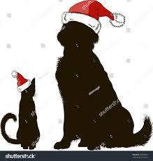 vector drawing dog cat christmas hats stock vector 338360783