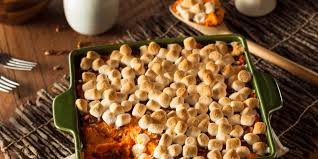 sweet potato thanksgiving side dish brown sugar glazed sweet potatoes with marshmallows recipe
