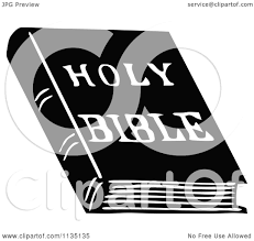 clipart of a retro vintage black and white holy bible book
