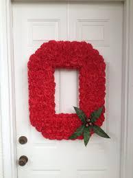 ohio state university block o door hanger wreath from flower