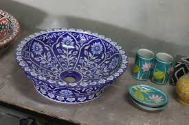 the story of jaipur blue pottery and a giveaway peacocks in the low temperature glaze pottery of jaipur is accorded the name blue pottery due to its predominantly blue patterns wheel turning and moulding