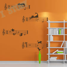 Music Note Decor Wall Sticker Music Notes With Cats Removable Vinyl Decal Wall