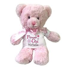 personalized pink flower girl teddy toys