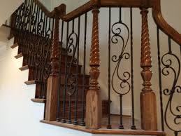 Landing Banister Stairway Landing Featuring Over The Post Style Stair Railing With