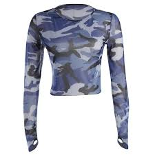 army pattern crop top 2018 new spring women t shirt long sleeve camouflage tshirt crop