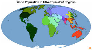 What Is A Map Projection The World U0027s Population Mapped As Usa Equivalent Areas Metrocosm