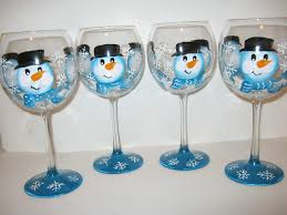 set of 4 snowman painted wine glasses with ad 1701505