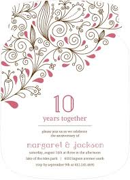 anniversary party invitations pink floral 10th anniversary party invitation 10th anniversary