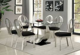 cara and cole metal top dining table within silver dining room