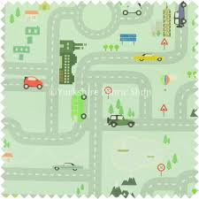 Map Fabric On The Road Map Children Play Mat Car Pattern Printed Upholstery