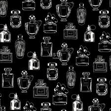 chalk printed non woven wallpaper perfume bottles black and white