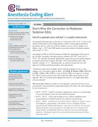 anesthesia coding alert anesthesia codes services newsletters
