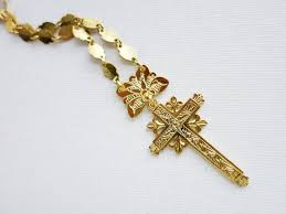 vintage krus cross crucifix necklace in brass in gold plated