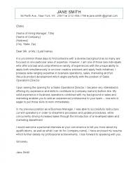 cover letter for a sales position operations cover letter