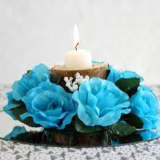 turquoise roses 24 artificial roses flowers candle rings centerpieces wedding