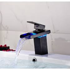 Led Bathroom Faucet by Led Waterfall Deck Mount Bathroom Sink Faucet Oil Rubbed Bronze