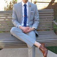 light gray suit brown shoes groom attire for semi casual outdoor wedding