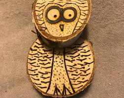 wood owl ornament etsy