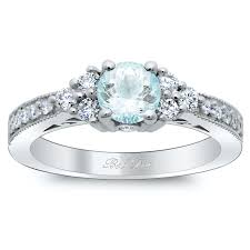 deco engagement ring diamond cluster deco engagement ring with aquamarine