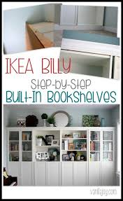 diy built in bookshelves ikea billy hack vanilla joy