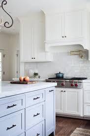 kitchen with glazed mini subway tile backsplash