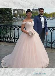 Blush Wedding Dress H1645 Blush Pink Colored Princess Wedding Dress With Off The