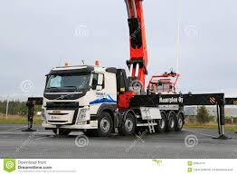volvo heavy vehicles volvo fm truck equipped with heavy crane editorial image image