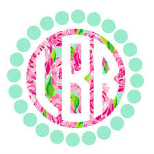 monogram decals inverted circle monogram with dots decal stitches and such