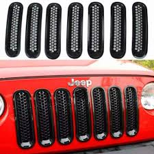 jeep front grill jeep wrangler jk 2007 2017 front 7pcs honeycomb grill inserts