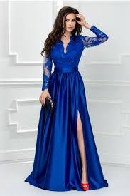 rochii de bal rochie de seara albastru electric cu decolteu adanc