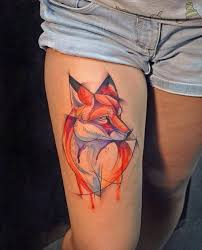 tattoo pictures color awesome geometric fox in orange color tattoo on thigh tattoos pm