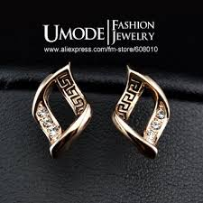 gold earring studs designs online shop umode brand design gold color with austrian