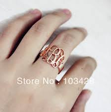 Monogramed Rings Aliexpress Com Buy Freeshipping Cut Out Monogram 3 Initial Ring