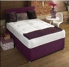 chenille memory foam divan bed set with mattress headboard 3ft
