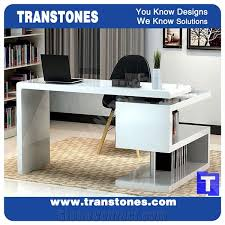 Acrylic Reception Desk White Artificial Stone Marble Office Ceo Work Table Sets
