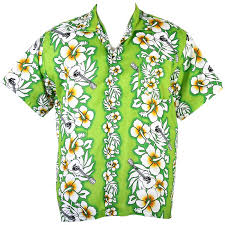 hawaiian aloha shirt hibiscus and guita isle green xl