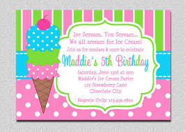 sample birthday invites ice cream birthday invitations pink and green ice cream