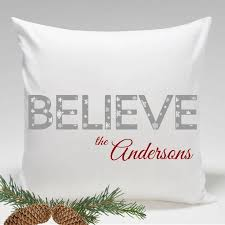 personalized believe holiday throw pillows decor