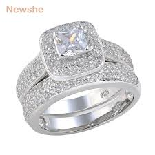 engagement and wedding ring set newshe 2 26 ct princess cut aaa cz 925 sterling silver halo
