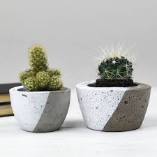 diagonal colour concrete planter by bells and whistles make