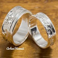 Hawaiian Wedding Rings by Silver Wedding Ring Set Of Traditional Hawaiian Hand Engraved