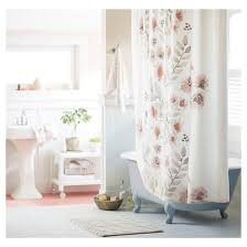 White On White Shower Curtain Blooms Flat Weave Shower Curtain 72