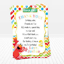 sesame street elmo birthday party thank you card