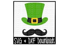 st patricks day svg top hat and mustache leprechaun cut file