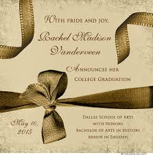dramatic graduation announcement custom wording card