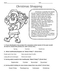 christmas reading comprehension worksheets worksheets