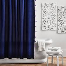 Navy Curtain Color On Color Tassel Shower Curtain Navy Pbteen