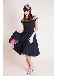 bettie page dresses 1950s inspired navy blue swing dress blue