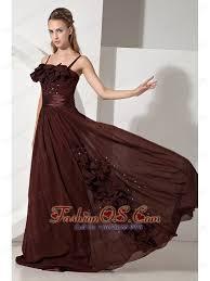 brown junior prom dress beading empire strapless brush train