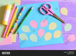 Stick Paper Paper Card Air Balloons Scissors Image U0026 Photo Bigstock